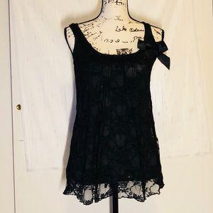 Julie's Closet Black lace bow tank top